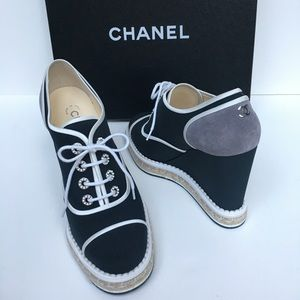 Sold. New CHANEL espadrilles Lace Up wedge