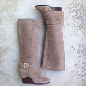 Vince Camuto Taupe Alician Wedge Knee High Boots