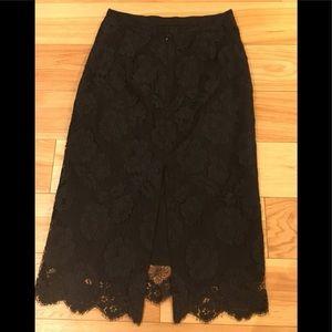 J.Crew Black rose lace skirt