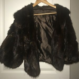 Real mink shoulder wrap in dark brown