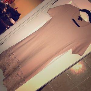 Ann Taylor Midi Blush Dress with Lace detail