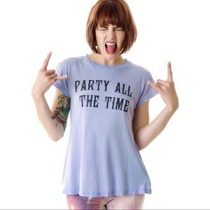 Wildfox Party All The Time Distressed Tee NWOT