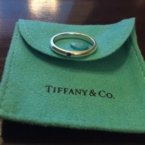 Tiffany blue sapphire and sterling silver ring