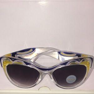 Blue/Yellow/Clear Cat-eye Sunglasses