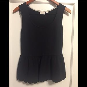 Black Peplum Anthropologie Top