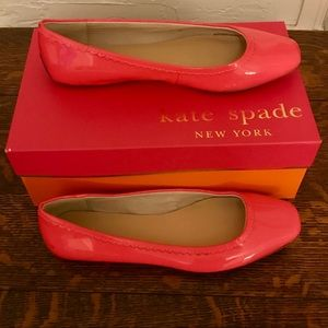 Kate Spade neon pink patent leather flats, size 8M