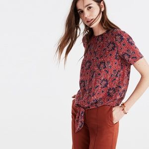 Madewell Silk Button-Back Tie Tee in Assam Floral