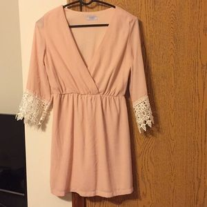 Light Pink and Lace Sleeve dress