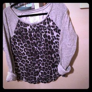 Women's sequin cheetah print heather grey sweater