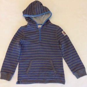 Mini Boden Half Zip Hoodie Striped Sweatshirt