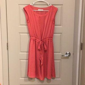 Ann Taylor LOFT coral tie-waist dress