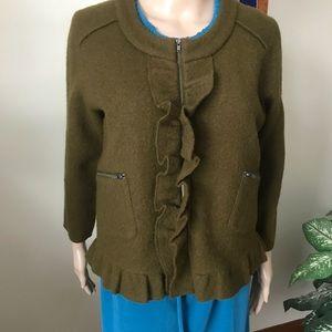 LOFT ruffled Merino boiled wool jacket