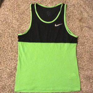 Nike Dri Fit Lime Green and Black Tank Top