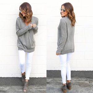 Oversized Surplice Wrap Front Knit Sweater Grey