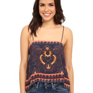 Free People Scarf Print Sleeveless Top Size Small