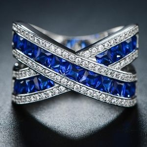 Jewelry - White Gold Plated Thin Blue Line Criss Cross Ring