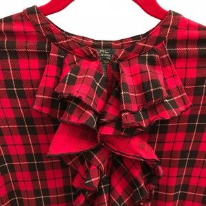 Ralph Lauren Plaid Ruffle front Shirt