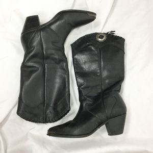 Dingo Black Heeled Cowboy Boots