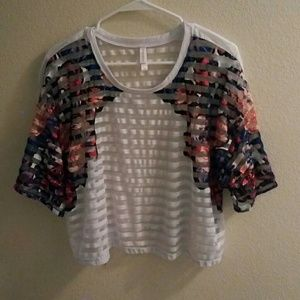 Striped crop top with floral print
