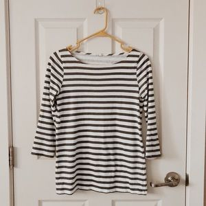 J. Crew striped boat neck cotton 3/4 sleeve tee