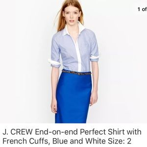 J. CREW End-on-end Perfect shirt with French Cuffs