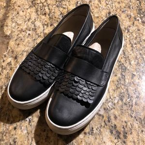 AGL black leather slip on sneakers