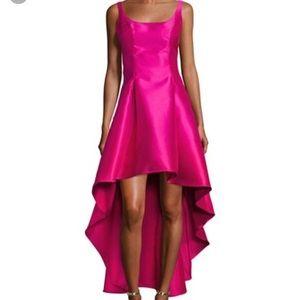 Nicole miller scoop neck high low gown