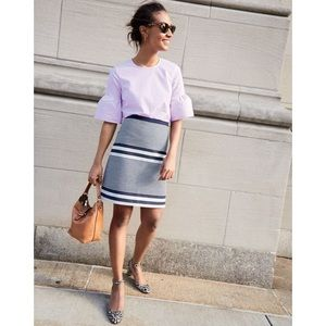 J.Crew A-Line Skirt in Striped Navy Tweed