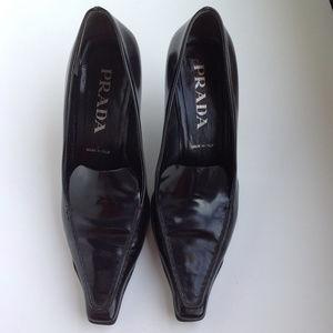 Black leather Prada heels