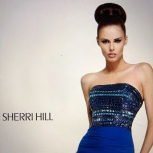 NEW!!  SHERRI HILL BEJEWELED FITTED ROYAL GOWN