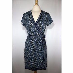 Max Studio Blue Wrap Dress Short Sleeve
