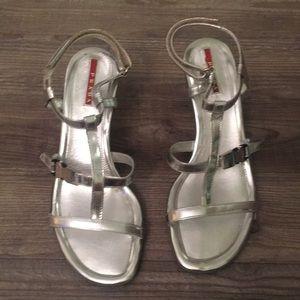 Prada silver heeled sandals