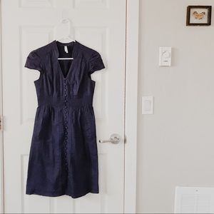 Anthropologie Maeve navy button down cotton dress