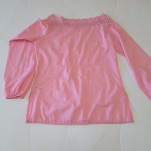 Gianni Bini Top Peasant Small Long Sleeve Pink