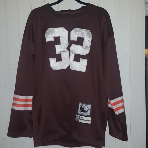 huge discount 2238a 3767a where can i buy cleveland browns 32 jim brown white long ...