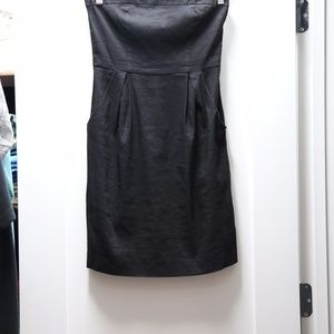 Black Size 0 Linen Theory Strapless Dress