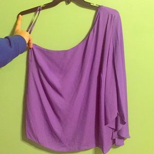 Purple one shoulder shirt. Lauren by Ralph Lauren.