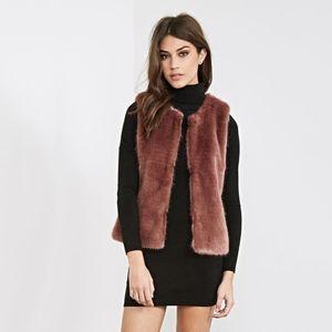 forever 21 • mauve classic faux fur vest • s