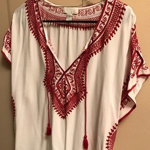 White and red embroidered top