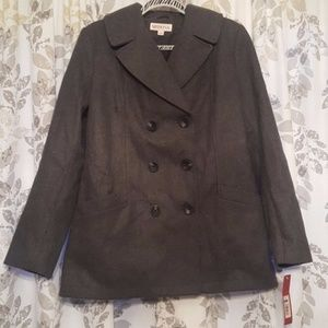 Brand New Gray Double Breasted Pea Coat NWT