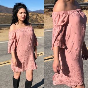MADEWELL SZ XS 2 PINK OFF THE SHOULDER DRESS PINK