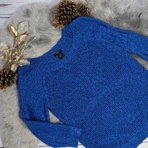 ANN TAYLOR • 100% cotton crew neck sweater, blue