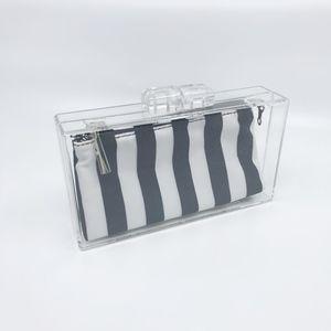 zara • clear acrylic clutch black white zip pouch
