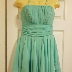 Davids Bridal Light Teal Short Dress