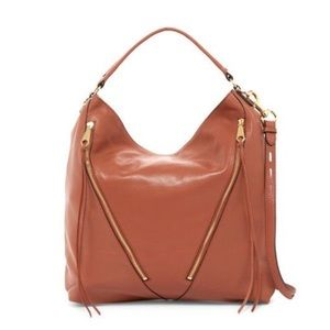 Rebecca Minkoff Moto Hobo Leather Handbag in Brick