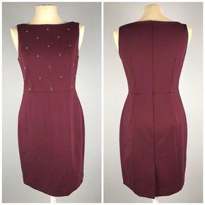 Ann Taylor Burgundy Embellished Sheath Dress