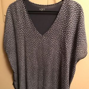 Dark Sky Blue and White Polka Dot Blouse