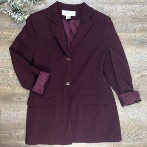 Jones New York Burgundy Wool Blazer Jacket