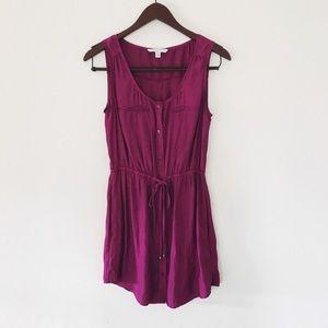 american eagle raspberry button up flowy dress