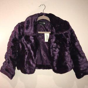 Cropped 3/4 Sleeve Faux Fur Jacket